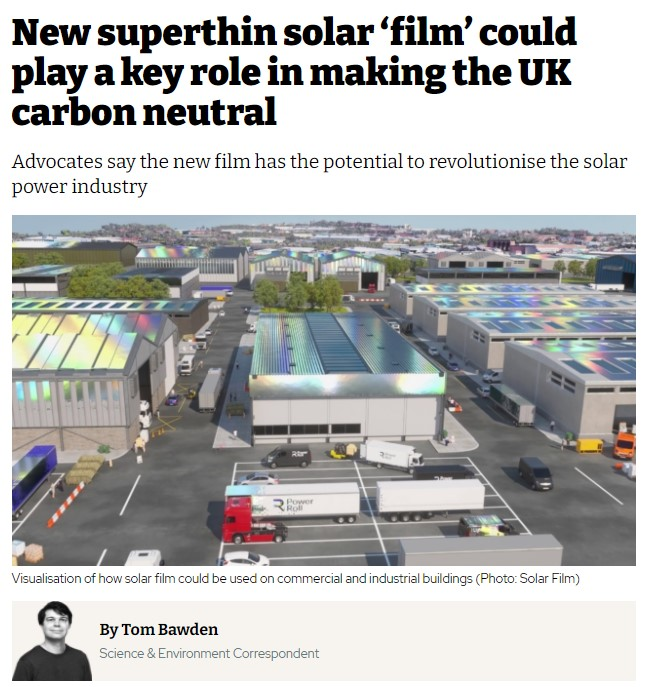 New superthin solar 'film' could play a key role in making the UK carbon neutral